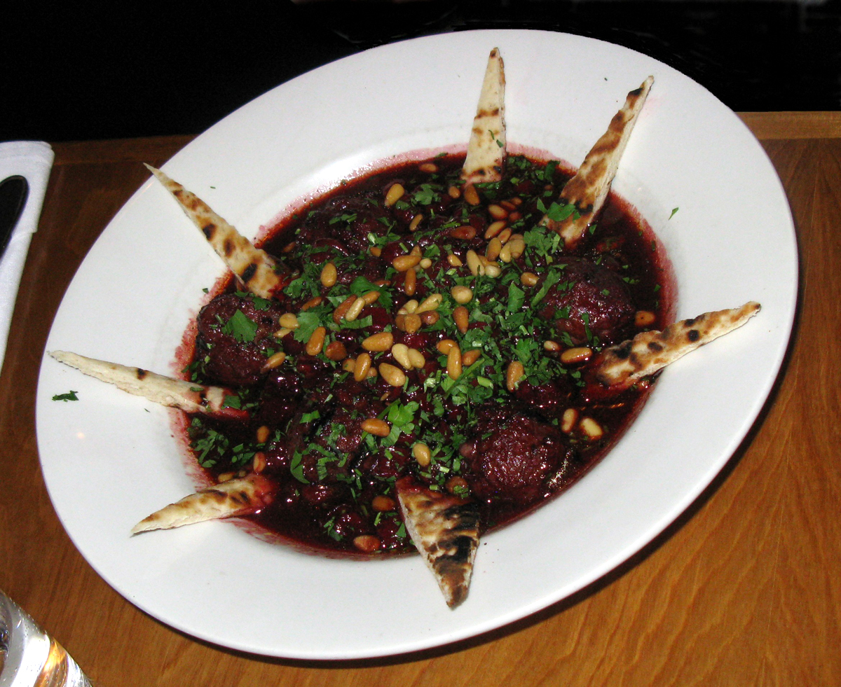 Kabab bil karaz (كباب بالكرز)—lamb kebabs with sour cherry sauce